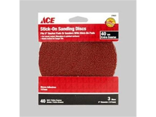 3 Pc Ace 40 Grit Stick On Sanding Disc  5