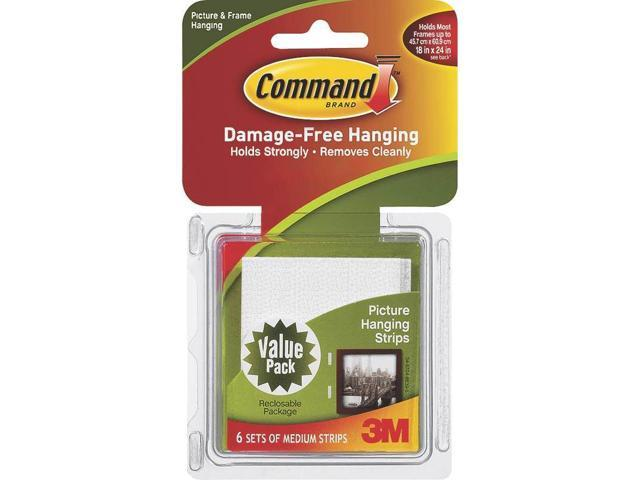 3M 17204 Command Picture Hanging Strips White Medium 6 sets/pk