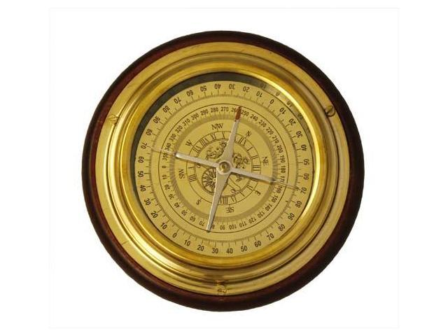 "6"" Solid Brass Navigational Desktop Compass with Wood Base"