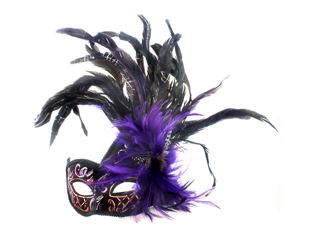 GOTHIC VENETIAN MASK - Colorful Feathers - MASQUERADE