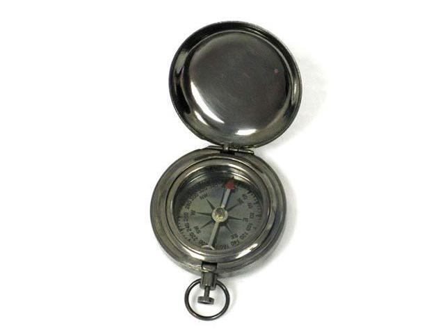 """1 3/4"""" Brass Antique Finish Pocket Compass w/ Cover: Hiking and Camping"""