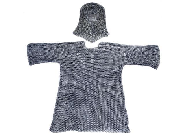 3/4 Length Sleeves Chainmail Shirt with Hood: Medieval Armor