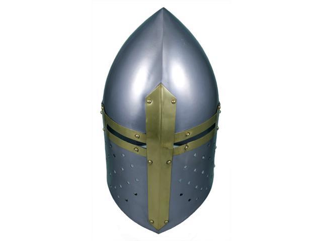 Sugar Loaf Templar Helmet with Brass Accents - Great Helm