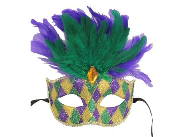 FEATHERED MARDI GRAS MASK - Party Masks - VENETIAN