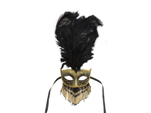 Venetian Gold and Black Feathered Mask with Beaded Mouth Cover
