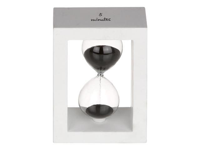 5 MINUTE MODERN BLACK/WHITE HOURGLASS with WOOD FRAME