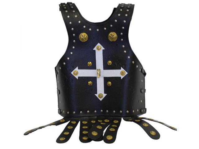 Medieval Templar Crusader Armor - Leather Breastplate with Brass Accents