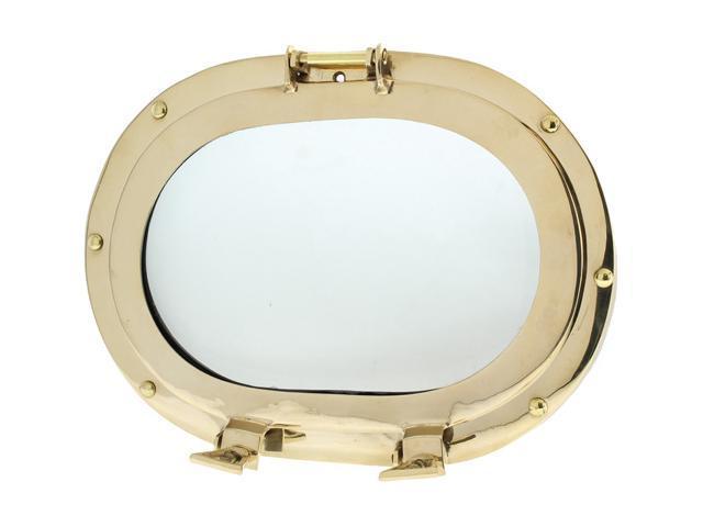 "12"" X 9"" Oval Porthole Window: Brass Nautical Ship Decor"