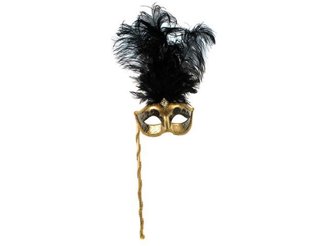 Venetian Gold and Black Handheld Feathered Mask