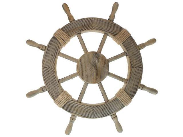 "24"" Pirate Ship Wheel - Wood with Rustic Finish - Nautical Decor"