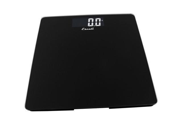Escali Black Tempered Glass Platform Bathroom Scale, 440 Pound