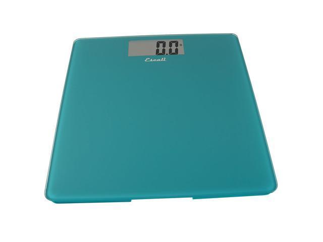 Escali Modern Glass Platform Digital Bathroom Scale Weight 400 lb Peacock Blue
