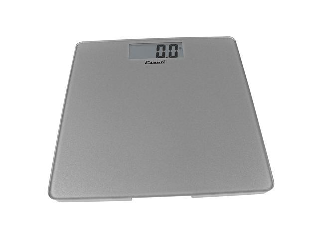 Escali Modern Glass Platform Digital Bathroom Scale Weight 400 lb Silver