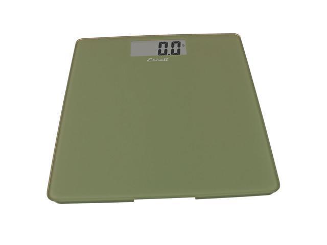 Escali Modern Glass Platform Digital Bathroom Scale Weight 400 lb Sage Green