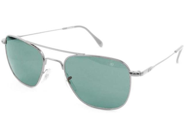American Optical Original Pilot Wire Spatula 52 Silver TC Grn Sunglasses 32202