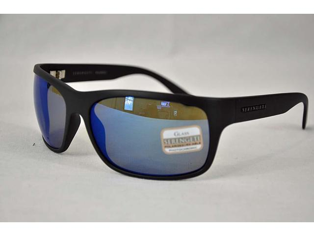 serengeti sunglasses 7t1d  Serengeti Sunglasses Pistoia 8298 Satin Black Polarized 555nm Blue Mirror  Lens