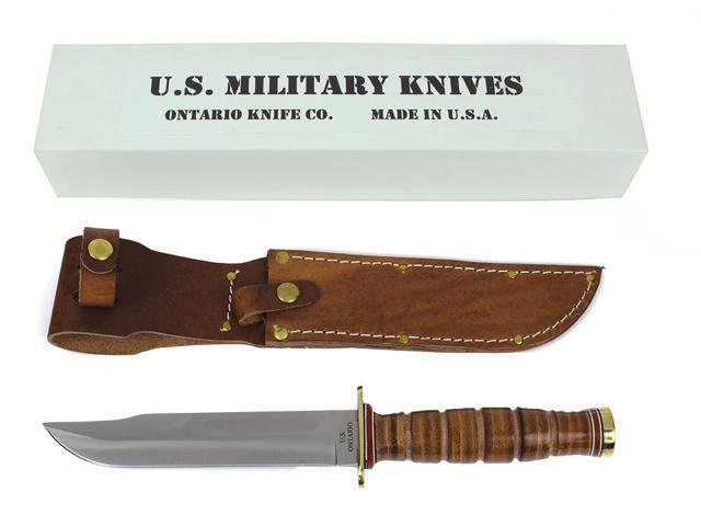 Ontario ONONP4 Knives Fixed Knife Leather Handle P4 U S M C Combat 12 1/4