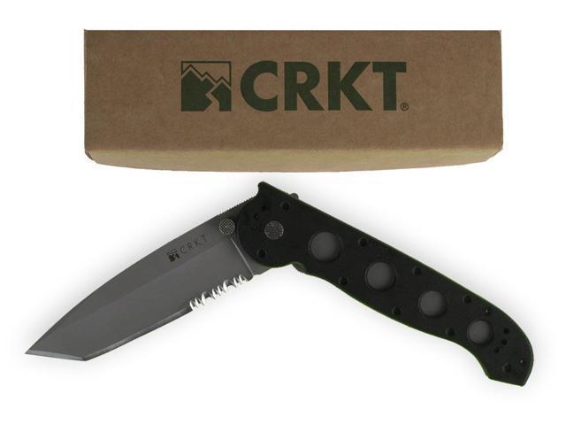 CRKT Zytel Folding Knife AUS 4 Bead Blast Combo Tanto Point Flipper 3 875