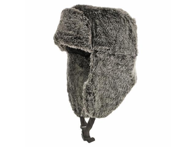 RUSSIAN TROOPER Black Pilot AVIATOR Soft Faux Fur Hat Trapper Ushanka Men and Women 7 5/8