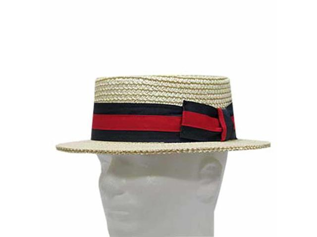 CLASSIC BOATER Bleach SKIMMER Straw Hat Men's 7-1/2