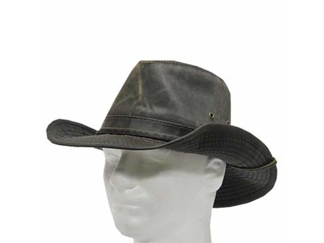 INDY OUTBACK Cotton All Weather leather BROWN Hat 7 1/8