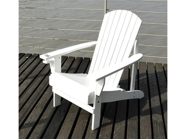 Outsunny Adirondack Outdoor Patio Lounge Chair - White