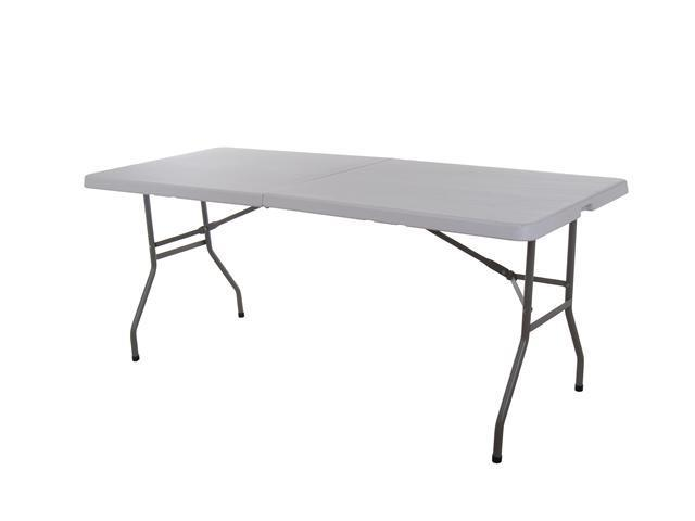 6' Multipurpose Utility Center-Fold Folding Table w/ Carrying Handle - White Granite Top Color w/ Gray Frame
