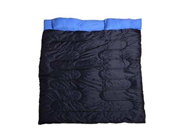 "Outsunny Two-Person Double Wide Sleeping Bag 86"" x 59"" (Blue/Black)"