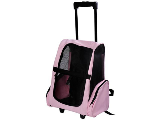 Pawhut Deluxe Pet / Dog Travel Carrier Backpack w/ Wheels - Pink