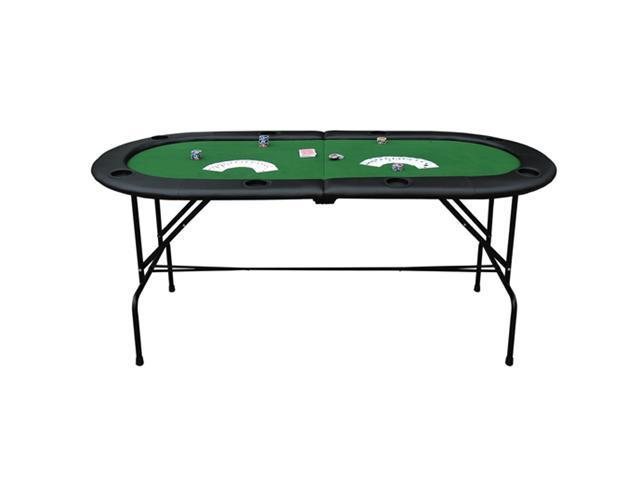 "HomCom Deluxe Foldable 72"" x 33"" Oval Poker / Blackjack Card Game Table w/ 8 Cup Holders - Green Felt"