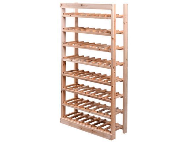 HomCom Classic Rustic Wood 8 Tier 120 Bottle Wooden Wine Rack