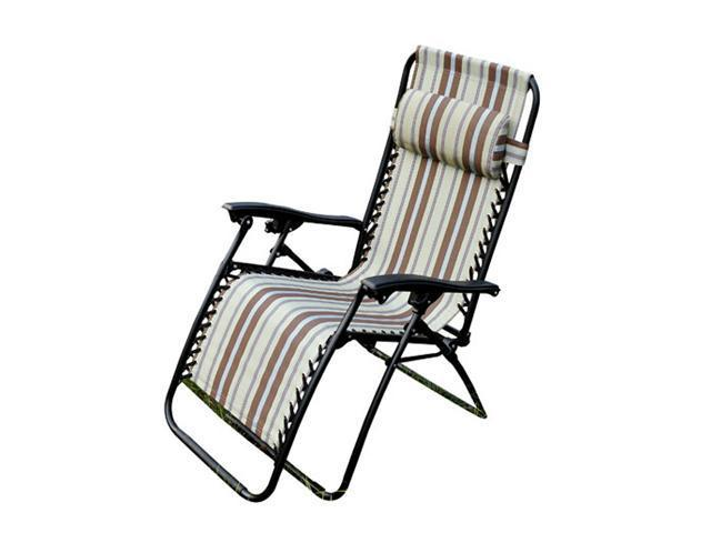 Outsunny Zero Gravity Recliner Lounge Patio Pool Chair - Brown / Tan Stripes