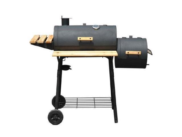 Outsunny Backyard Charcoal BBQ Grill / Offset Smoker Combo w/ Wheels