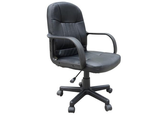 HomCom Mid-Back Synthetic Leather Computer Office Chair - Black