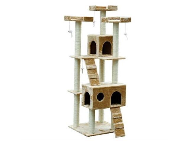 """Pawhut D2-0011 72"""" Pet Tree Condo Cat Scratcher, Beige"""