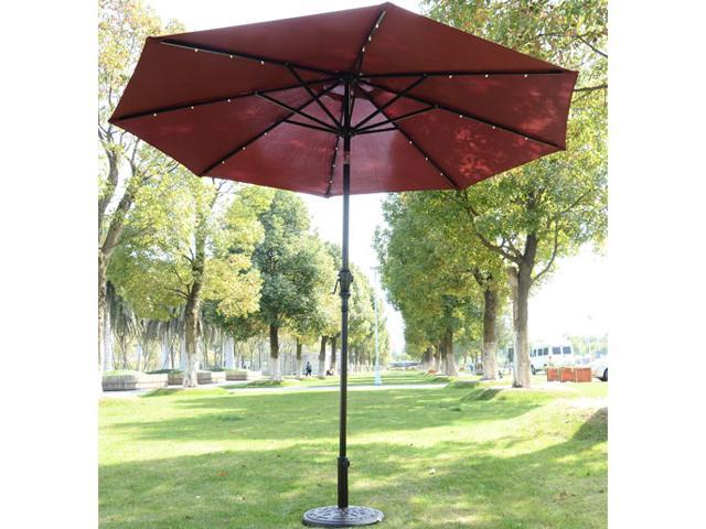 Outsunny Solar Powered LED Patio Umbrella – Red Wine
