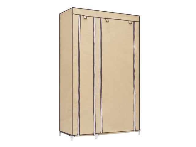 """HomCom 42"""" Portable Clothes Organizer Closet w/ Shelves - Tan"""