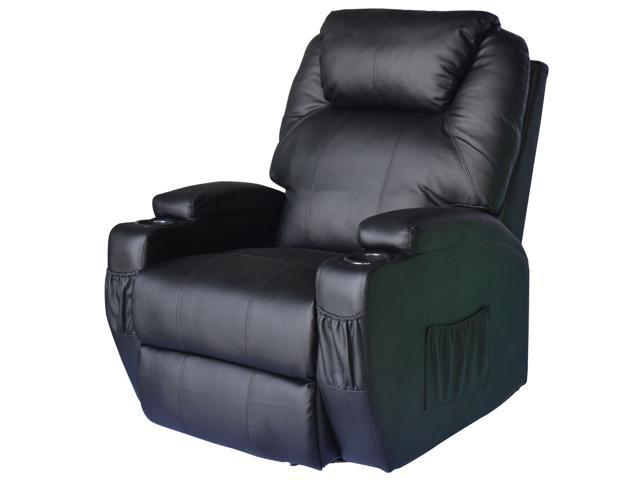 HomCom Therapeutic Heated Reclining Massage Chair - Black