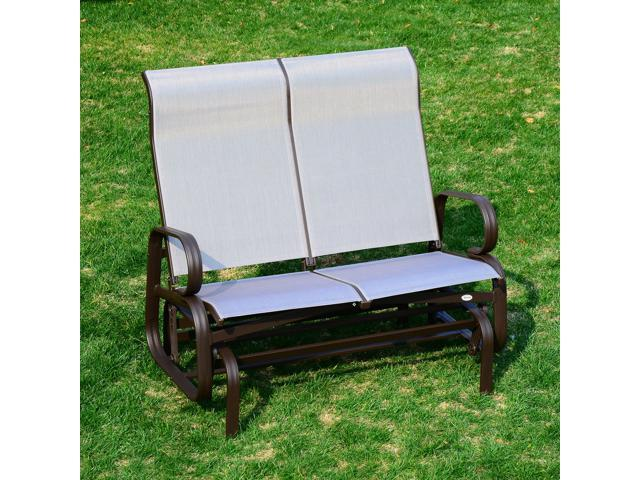 Outsunny 2 Person Outdoor Mesh Fabric Patio Double Glider Chair   Brown And  Beige