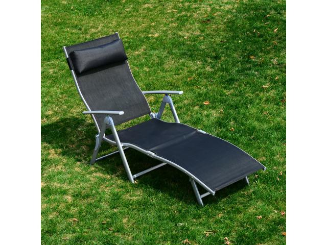 outsunny patio reclining chaise lounge chair with cushion black and silver