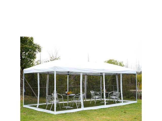 outsunny 10u0027 x 20u0027 popup canopy shelter party tent with mesh walls