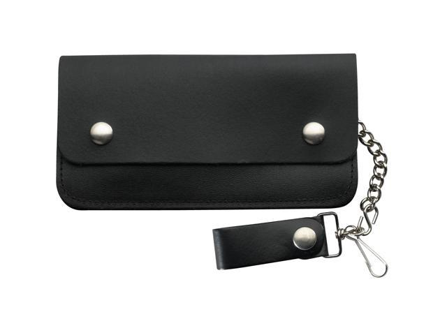 Plain Black Leather Biker Wallet