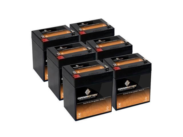 12V 6AH Sealed Lead Acid (SLA) Battery - T2 Terminals - for ZB-12-6 - 6PK
