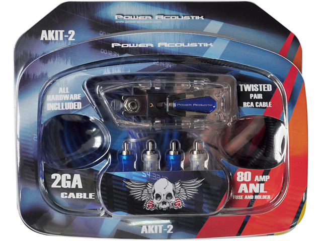 Power Acoustik AKIT-2 Amplifier Wire Kit with 2 Gauge 17ft Power Wire, 30 ft Speaker Wire, 17ft RCA and Turn-On Wire, 80A ...