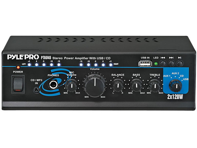 Pyle PTAU45 Mini 2x120 Watt Stereo Power Amplifier with USB-CD-AUX Inputs