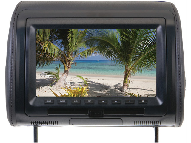 "New Power Acoustik Hdvd91cc 9"" Widescreen Headrest W/ Dvd Player Fm Transmitter"