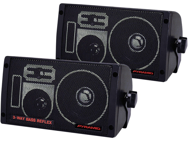 NEW  PAIR PYRAMID 2060 300W BASS REFLEX BOX SPEAKERS WITH BRACKETS 300 WATT