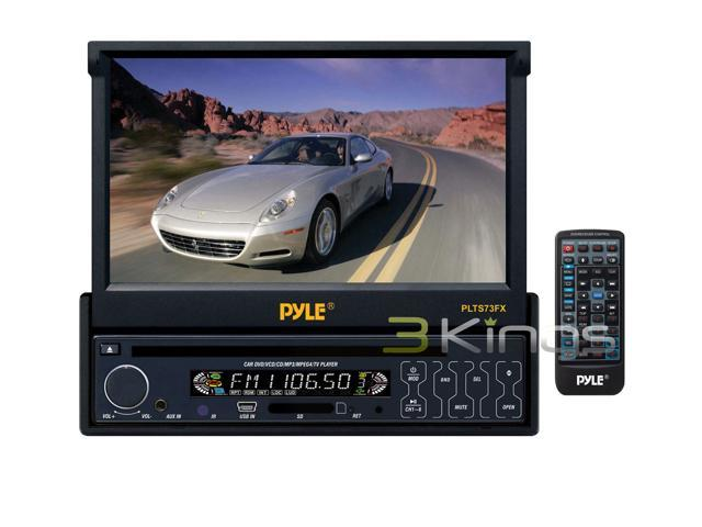 Pyle - 7'' Single DIN In-Dash Motorized Touch Screen TFT/LCD Monitor w/ DVD/CD/MP3/MP4/USB/SD/AM-FM Player