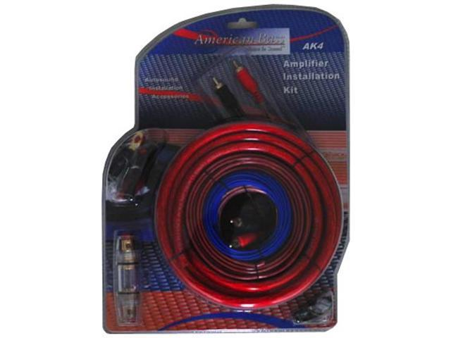 New American Bass Ak4 Car Audio 4 Gauge Amplifier Amp Wiring Kit