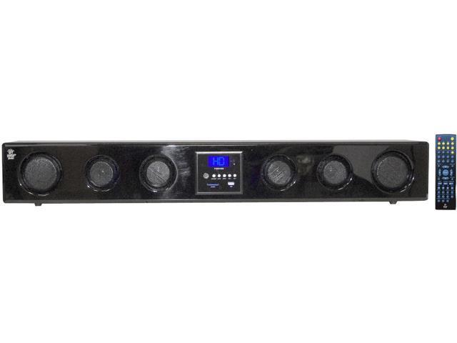 New Pyle Psbv400 6 Way Shelf Mount Sound Bar W/ Mp3 Usb Sd Fm Tuner & Remote
